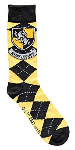 Harry Potter Hufflepuff Crest Argyle Pattern Men's Crew -