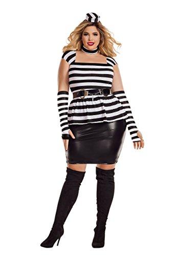 Women's Plus Size Jailbird Costume 2X (Jailbird Plus Size Halloween Costume)