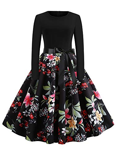 Floral Print Vintage Spring Casual O-Neck Long Sleeve Patchwork Vestido Swing Party Dresses,Black,M