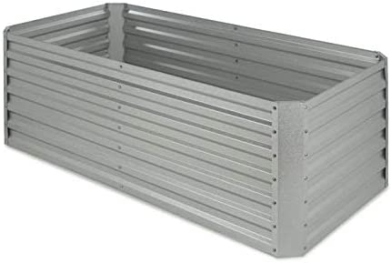 Blumfeldt High Grow Straight Raised Bed Garden Bed Flowers, Herbs and Vegetables Expandable 250 Gallons Steel Weather-Resistant Snail Protection Galvanized Silver