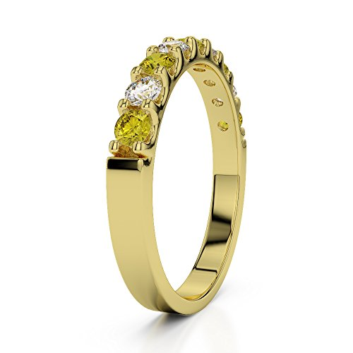 Or jaune 18carats 0.29CT G-H/VS Certifié Round Cut Saphir Jaune et diamants Agdr-1108