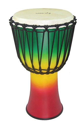 Tycoon Percussion TFAJ-10JC 10 Fiberglass Rope Tuned Djembe, Jamaican (Red/Yellow/Green) by Tycoon Percussion