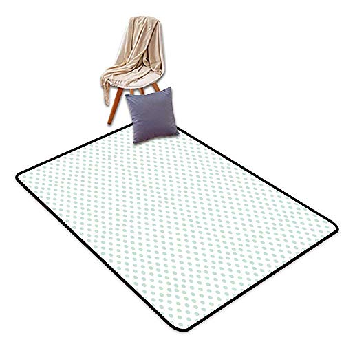 Bath Rug Green Retro Pattern with Polka Dots in Pastel Color Baby Nursery Theme Old Fashioned W39 xL63 Suitable for Restaurants,Family Rooms,corridors,foyers.