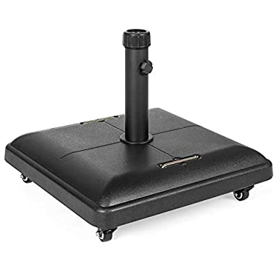 Best Choice Products 81lb. Heavy Duty Outdoor Patio Square Concrete Rolling Weatherproof Umbrella Base Stand w/Locking Wheels, Handles - Black