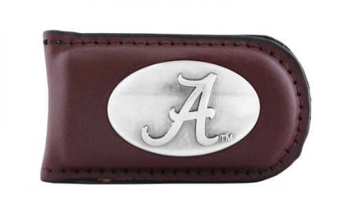 NCAA Alabama Crimson Tide Brown Leather Magnet Concho Money Clip, One Size