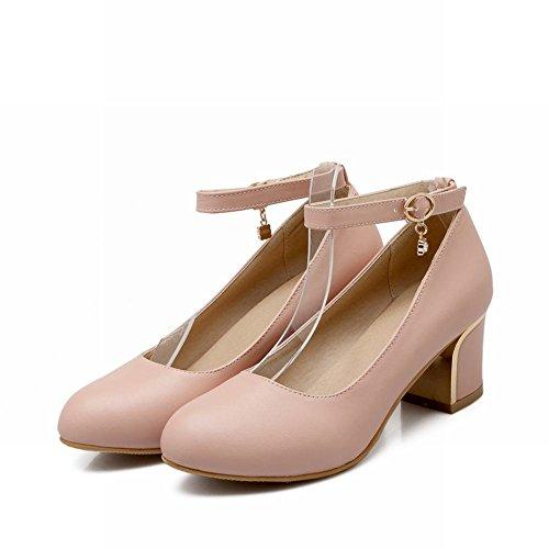 Latasa Mode Cheville-sangle Mi Chunky Talon Robe Pompes Chaussures Rose