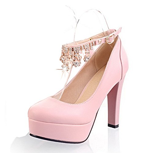 Balamasa Womens Buckle Solid High Heels Pump Shoes Roze