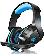 PHOINIKAS H1 Gaming Headset for PS4, Xbox One, PC, Laptop, Nintendo Switch with Bass Surround, Xbox One Headset with Noise-Cancelling Mic, Over Ear Headphones with LED Light, Gift for Kids - Blue…