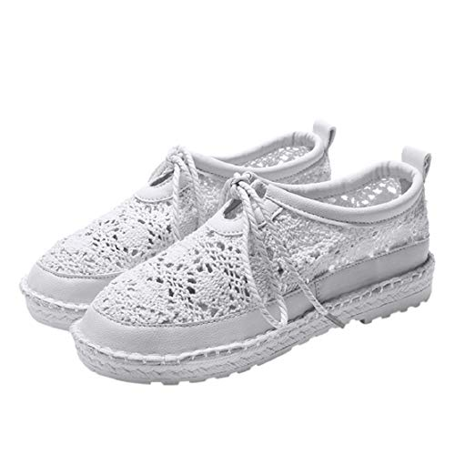 (Women Fashion Casual Crochet Shoes Straw Weave Wedge Shoes Lace up Slip On Thick Bottom Sneakers by Lowprofile White)