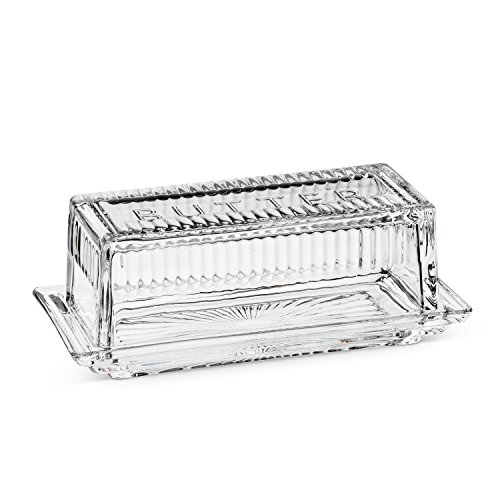 Abbott Collection 27-GAYLEA Quarter Lb Butter Dish with Cover Glass, 7 inches long, Clear ()