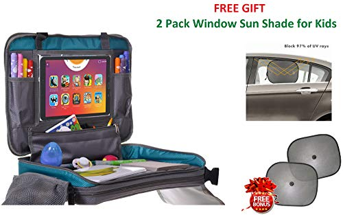 Kids Travel Tray for Toddler Car Seat | Travel Organizer with Cup Holder | Detachable 4 in 1 iPad Holder | Kids Snack and Play Airplane Travel Tray | Free Gift 2 Car Window Sun Shade