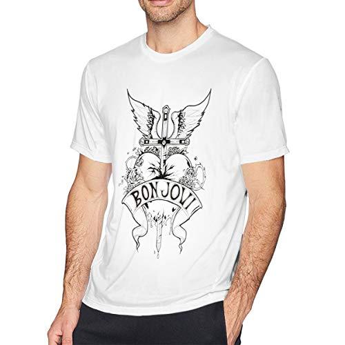 TERRY GARRARD Bon Jovi Band Heart Logo Jon Men's Short Sleeve T-Shirt White L ()