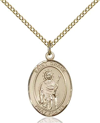 Grace Medal Pendant - 14K Gold Filled Saint Grace Medal Pendant, 3/4 Inch