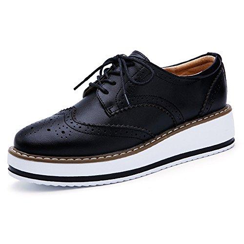 (YING LAN Women's Platform Lace-Up Wingtips Square Toe Oxfords Shoe Black)
