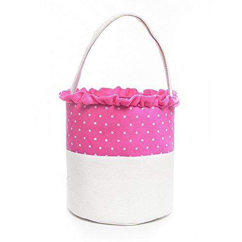 Easter Bucket Dot Easter Basket for Children Egg Hunt (Pink)