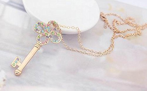 Modogirl Swarovski Elements Crystal Charm Memory of Key Pendant Necklace for Women colorful