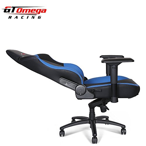 Gt Omega Evo Xl Racing Office Chair Black And Blue Leather