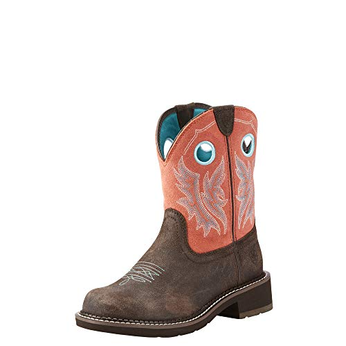 Ariat Women's Fatbaby Heritage Cowgirl Western Boot, Chocolate/Coral, 9 B US