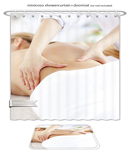 Ada Massage Chairs (Minicoso Bath Two Piece Suit: Shower Curtains and Bath Rugs Close Up Of A Caucasian Woman Receiving A Back Massage In A Spa Cente Shower Curtain and Doormat Set)