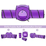 Lukovee Cat Tunnel Toy, Crackle Paper Collapsible Tube Three Connected Run Road Way Tunnel Catnip House with Fun Ball Puzzle Exercising and Playing (Purple, 4 Ways with Hanging Toy)