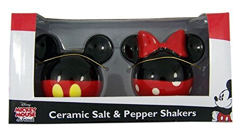 nnie Mouse Ceramic Salt and Pepper Set, Red/Black ()