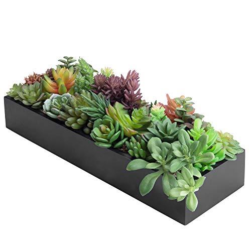 MyGift 17-inch Artificial Succulent Plants in Sleek Black Planter