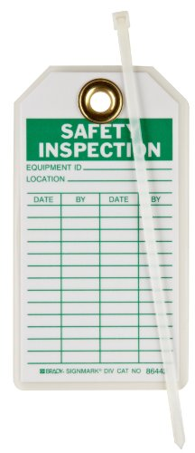 Brady 86442 5-3/4'' Height, 3'' Width, B-837 Heavy Duty Polyester, Green On White Color Safety Inspection Tags (Pack Of 10) by Brady