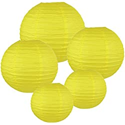 Just Artifacts (LEMON YELLOW) Chinese/Japanese Paper Lanterns (Assorted: (2) 8inch, (2) 12inch, (1) 16inch) - Click for more colors!
