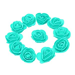 KODORIA 100pcs Artificial Foam Rose Head Artificial Rose Flower for DIY Bouquets Wedding Party Home Decoration - Tiffany Blue 112