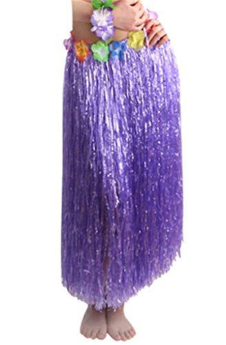 (80cm Purple Elastic Hawaiian Hula Grass Skirt with Floral Waistband)