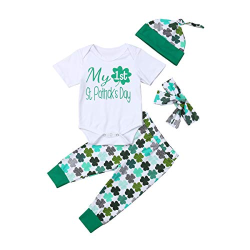 22bf320b My First St. Patrick's Day Outfits 4 Pcs Baby Boys Girls Clothes Rompers  Pants Hats