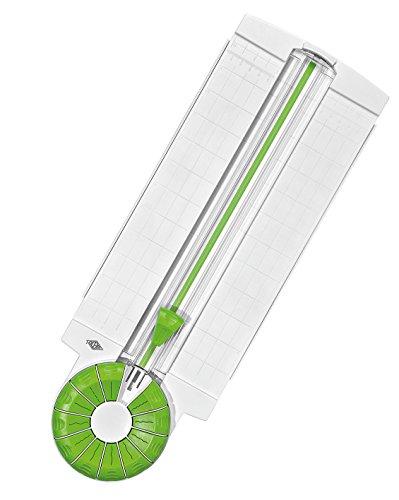 Wedo 796500 Rollenschneider Comfortline 12-in-1, ausklappbare Linealleisten, Schnittbreite bis 31 cm für Papier, Karton, Fotos weiß / apfelgrün