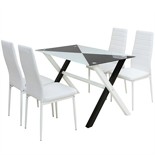 5 Piece White White Dining Set Glass Table and 4 Artificial Leather Chairs by HomeSweet