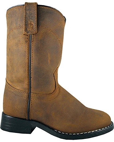 Equestrian Boot Style (Smoky Mountain Child's Leather Roper Boots - Oiled Distress Brown Youth 5.5)