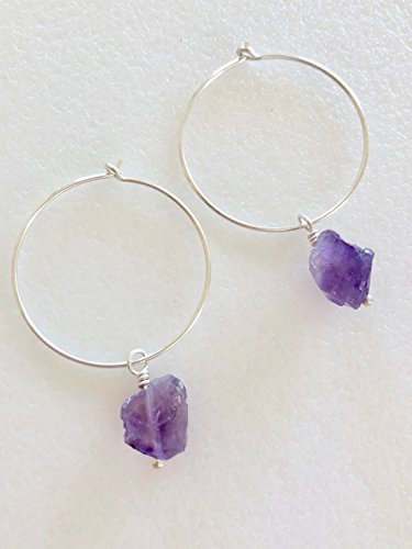 Natural Gold Nugget Ring (Amethyst Hoop Earrings, Raw Purple Amethyst Nuggets, Rough Natural Gemstones, February Birthstone, 1