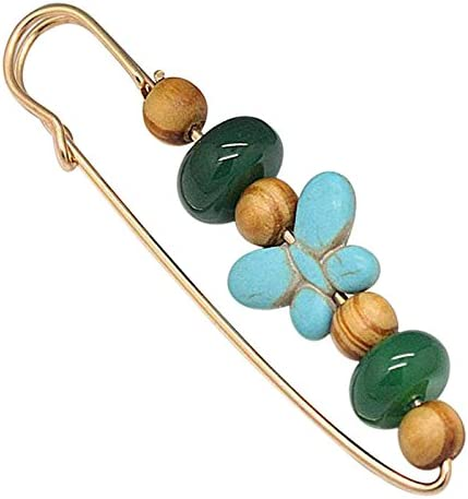 Joyci A Set Agate Gem Brooch Carnelian Unique Pins Fashion Color Wood Bead Brooch Pins Exotic Charm Clips Pin