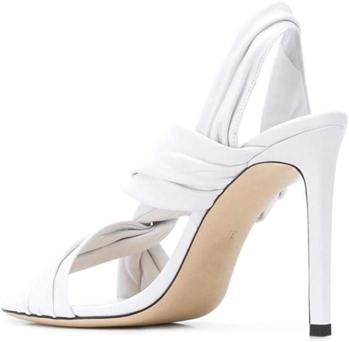 MAG.AL Femmes Tête Ronde Bout Ouvert Sandales à Talons Hauts, Fantaisie Bandage Stylet des Sandales, élégant Tempérament Sandales De Banquet white