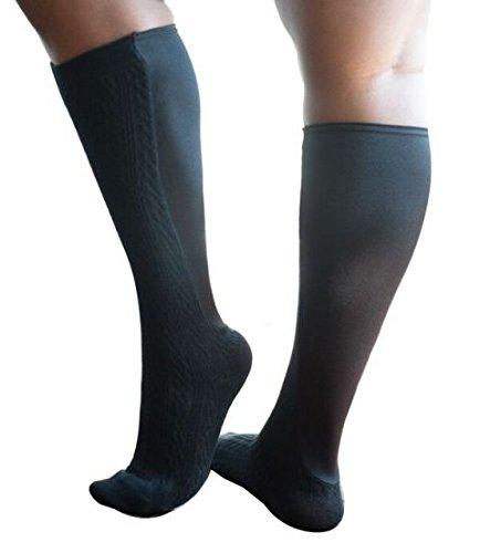 d984a7ad38 Xpandasox F15203BLK-1012 Womens Cable Texture-Solid Knee High Black Socks,  Size 10