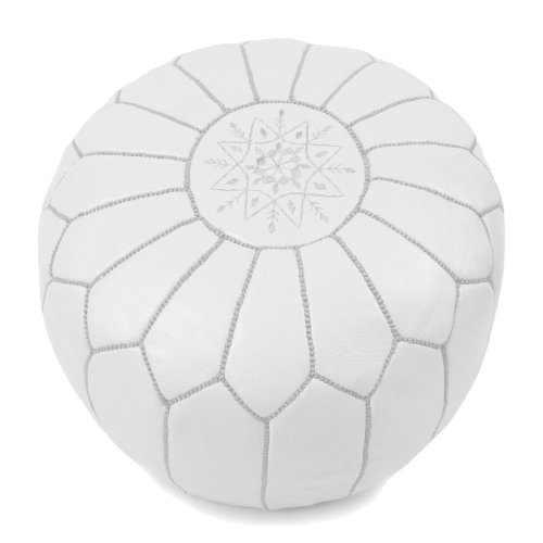La Bohemia | Beautiful Handmade Real White Leather Footstool Pouf from Marrakech | Colour White with White Stitching | Delivered unstuffed