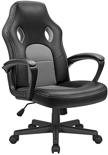 KaiMeng Office Gaming Chair High Back Leather Computer Chairs Ergonomic Height Adjustable Racing Game Desk Chair Executive Conference Task Chair Grey