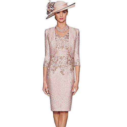 Fenghuavip Elegant V-Neck 2 pcs Champagne Pink Bridal Mother Dresses