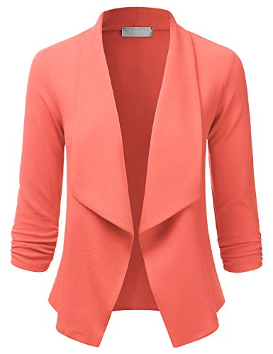 EIMIN Women's Lightweight Stretch 3/4 Sleeve Blazer Open Front Jacket Coral M