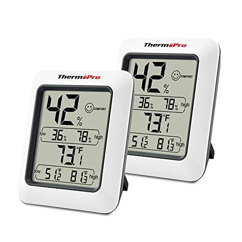 - ThermoPro TP50 2 Pieces Digital Hygrometer Indoor Thermometer Humidity Monitor with Temperature Humidity Gauge