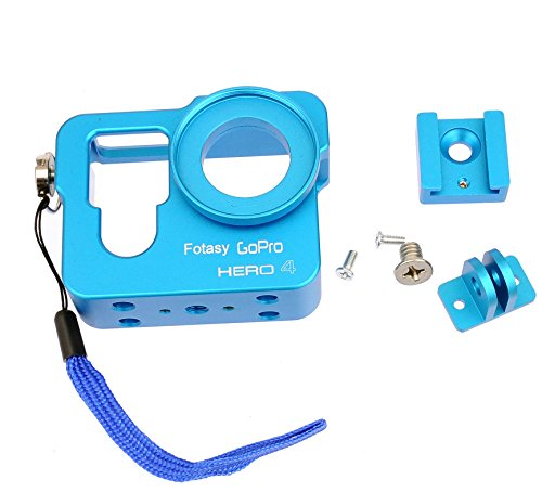 Fotasy HEROHCU CNC Aluminum Skeleton Rugged Cage Protective Housing Case for GoPro Hero 4 (Blue) by Fotasy
