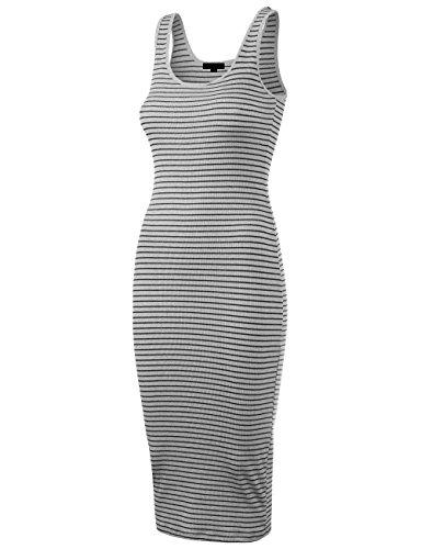 (DOUBLDO Womens Line Stripe Rib Jersey Boat Neck Tank Top Midi Dress-S-H_GRAY_BLACK)