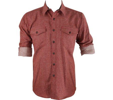 Pendleton Men's Fitted Cascade Wool-Denim Button-Front Shirt, Red, MD - Wool Cascade
