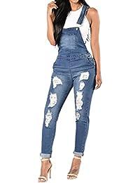 Women Overalls Summer Hole Denim Bib Pants Sling Trousers Pants Denim Jumpsuit Jeans