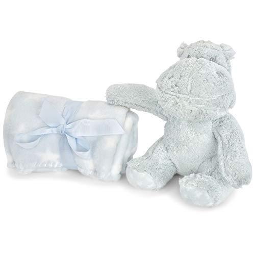 Zak and Zoey 2 Piece Warm Plush 30 X 30 Baby Security Sleep Blanket Stuffed Animal Set Grey Hippo (Hippo Travel Blanket)