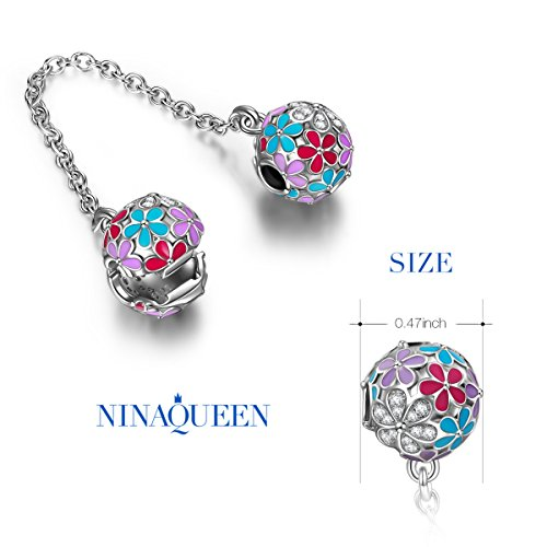 "NinaQueen ""Happy Daisy"" 925 Sterling Silver Safety Chain Stopper Bead Clasp Charms"