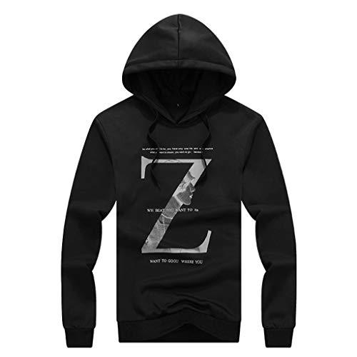 (Mens Casual Long Sleeve Z Alphabet Printing Hoodie Sports Suit Tops Pants Set)